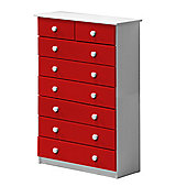 6 + 2 Chest of Drawers in White and Red