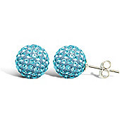 Jewelco London Sterling Silver Crystal Stud Earrings