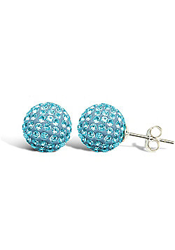 Sterling Silver Dazzling Disco Ball Stud Earrings 10mm - Aqua Blue coloured Crystal