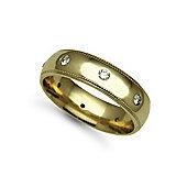 Jewelco London 18ct Yellow Gold 6mm Court Mill-Grain Diamond set 40pts Eternity Wedding / Commitment Ring