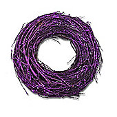 Large Purple Glitter Finish Round Grapevine Wreath
