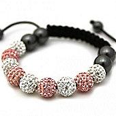 Pink and Clear Crystal Unisex Fashion Bracelet SHAMBRAC-77