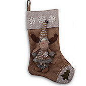 Fabric Finish Christmas Stockings With Fluffy Reindeers - Design B