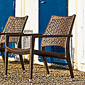 Varaschin Altea Relax Chair by Varaschin R and D (Set of 2) - Dark Brown - Panama Azzurro