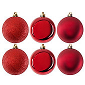 Pack of 6 Glitter, Matte & Shiny Red 8cm Christmas Baubles