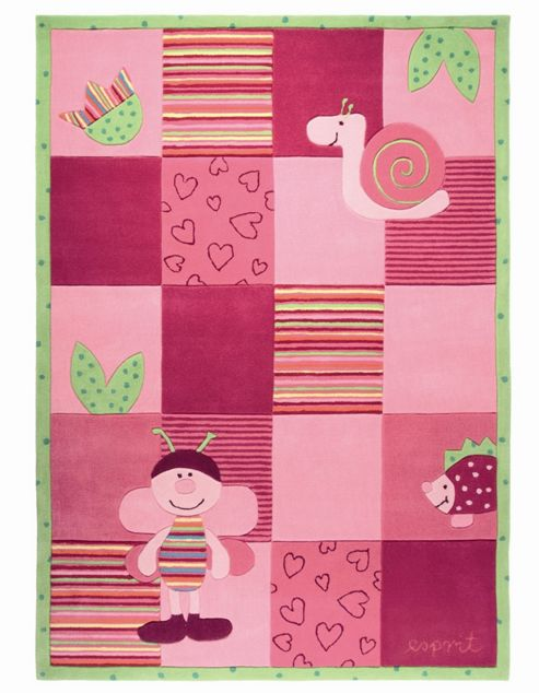 Esprit Bee Pink / Green Kids Rug - 70cm x 140cm