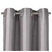Faux Silk Eyelet Curtains - Silver