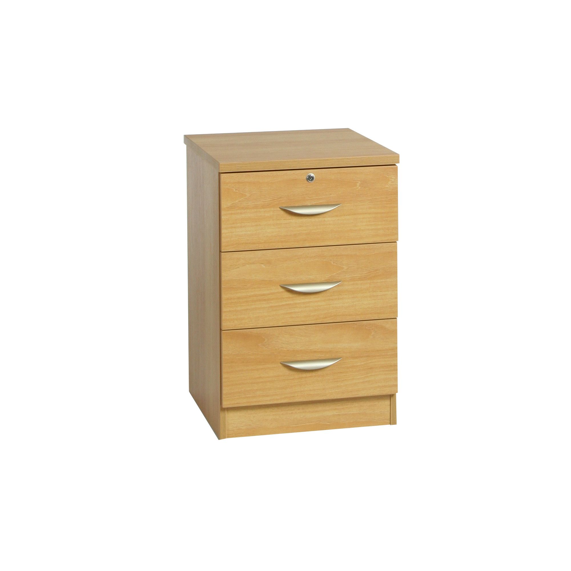Enduro Three Drawer Wooden Pedestal / Audio Visual Unit - Walnut at Tesco Direct