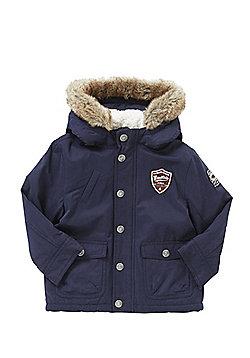 F&F Badge Faux Fur Hood Parka - Navy