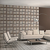 Muriva 3D Squares Wallpaper - Chocolate