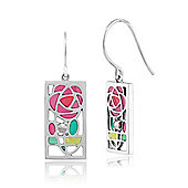 Gemondo Sterling Silver 5.4pt Marcasite Rennie Mackintosh Rose Style Drop Earrings