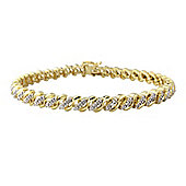 Sterling Silver with 9ct Gold Overlay Diamond Bracelet