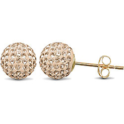 Jewelco London 9ct Gold Peach Champagne tinted sparkling Crystal set 8mm Disco Ball Studs