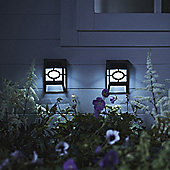 Twin Pack of White LED Solar Garden Fence Lights