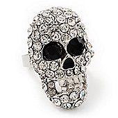Dazzling Clear Crystal Skull Ring In Rhodium Plating - Adjustable