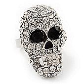 Dazzling Clear Crystal Skull Ring In Rhodium Plating - Adjustable