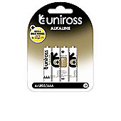 Uniross U0214834 AAA LR03 Alkaline Batteries 4-Pack