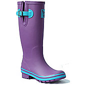 Evercreatures Ladies Eggplant Wellies Purple with Turquoise Edging 6