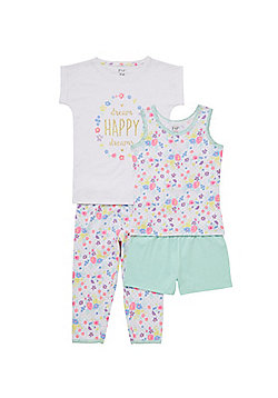 F&F 2 Pack of Floral Pyjamas - Green