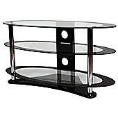 ValuFurniture Clear Glass Oval TV Stand for up to 60 inch TVs