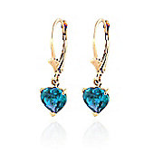QP Jewellers 3.25ct Blue Topaz Especial Affection Heart Earrings in 14K Gold
