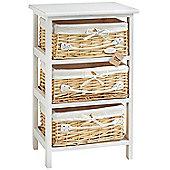 VonHaus 3 Wicker Basket Storage Bathroom Cabinet Drawers - White