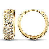 Jewelco London 9ct Yellow Gold huggie hoop Earrings pave-set with 3 rows of brilliant cut CZ stones