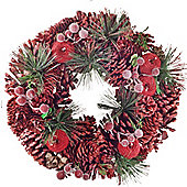 Traditional Red Glitter Pine Cone, Berry & Artificial Fir 33cm Christmas Wreath