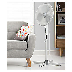 "Tesco PF1615W 16"" Pedestal Fan White"
