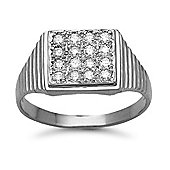 Jewelco London 9 Carat White Gold 50pts Gents Square Shape Diamond Ring