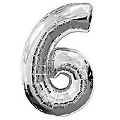 Silver Number 6 Balloon - 34' Foil (each)