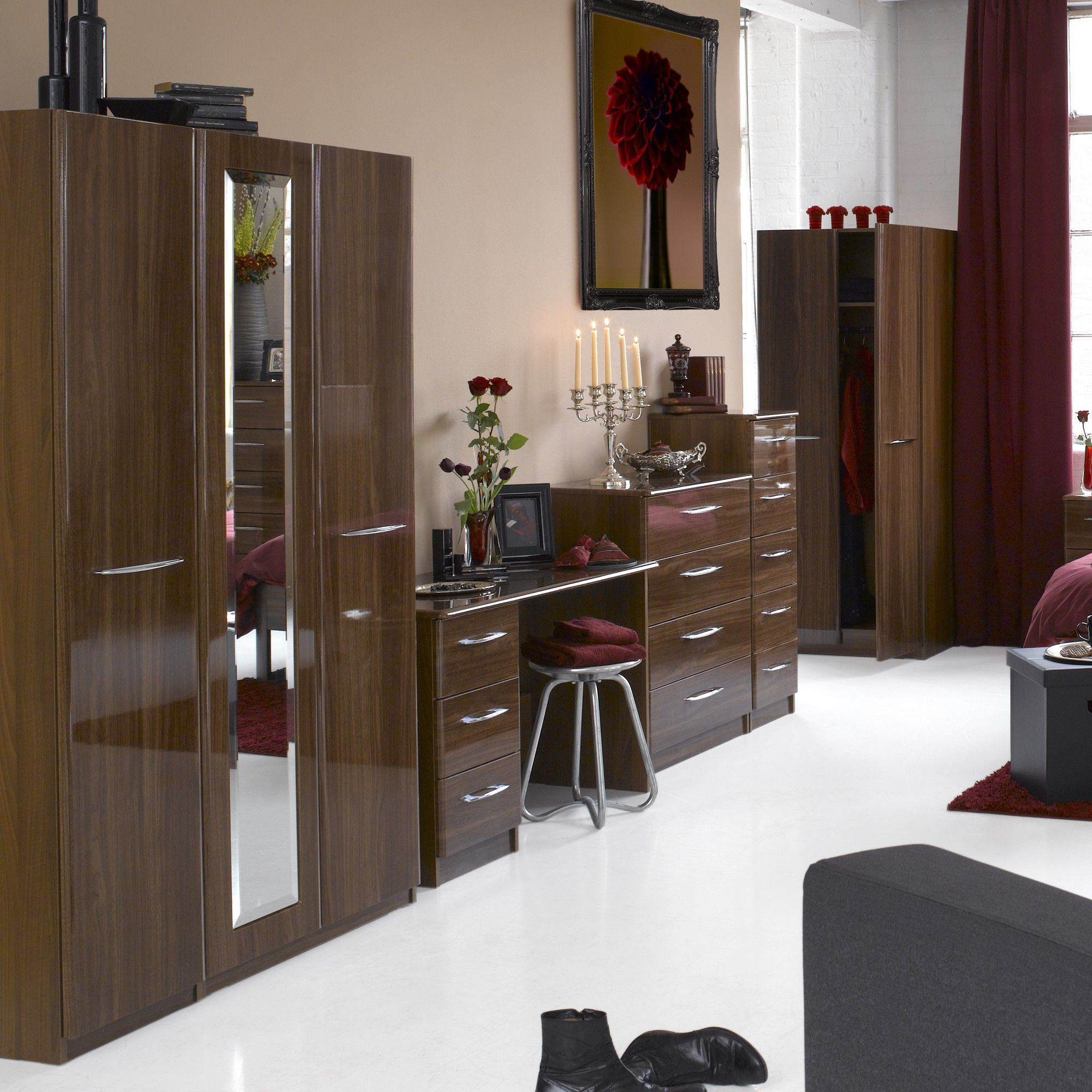 Alto Furniture Visualise Murano Three Door Wardrobe in High Gloss Walnut at Tesco Direct