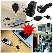 3 in 1 USB-Mains-Car Phone Charger