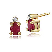 Gemondo 9ct Yellow Gold 0.44ct Ruby & Diamond Classic Stud Earrings