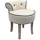 Stool / Low Back Chair with Wood Legs - Oatmeal / Grey