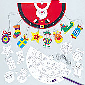 3D Christmas Colour-in Mobiles Decoration (4 Pcs)