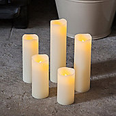 Set of 5 Slim Real Wax Battery LED Candles