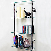 Techstyle 4-Tier Narrow Wall Shelf - Chrome / Clear