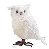 Large Left Facing White Fluffy Feathered Owl Christmas Ornament