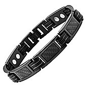 Willis Judd Mens Black Titanium Magnetic Bracelet featuring Black Carbon Fibre
