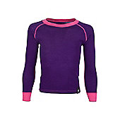 Merino Kids Round Neck Top - Purple - 13-14 yrs
