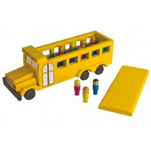 Toy school bus with wooden puppets