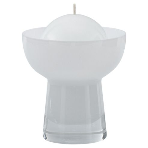 Ball Candle Holder & Candle White