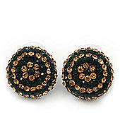 Dark Green/ Citrine Swarovski Crystal Button Stud Earrings In Black Metal - 2cm Diameter