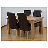 G&P Furniture 5 Piece Rectangular Extending Oak Dining Set - 76.2cm H x 140cm - 230cm W x 90cm D