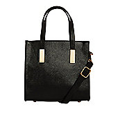 F&F High Shine Square Mini Tote Bag One Size Patent Black