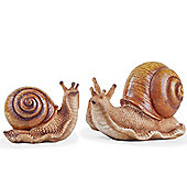 The Hosta Loving Pair of Realistic Snail Garden Ornaments