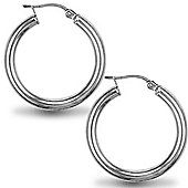 Jewelco London Sterling Silver Polished Hoop Earrings - 3mm