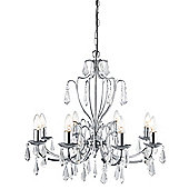 Delicately Styled Chandelier with Clear Glass Trimmings