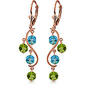QP Jewellers Peridot & Blue Topaz Dream Catcher Earrings in 14K Rose Gold
